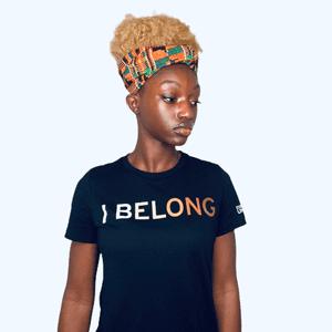 Consciously Unbiased 'I Belong' Black Unisex-T-Shirt in Skintone
